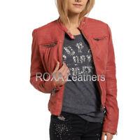 Roxa Nuovo Donna pelle di Pecora Genuine Vera Giacca Festa Abbigliamento Rosso