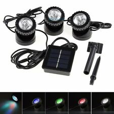 Set of 3x6 LEDs Solar Powered Spotlight Lamp Color Changing Waterproof Pool Pond
