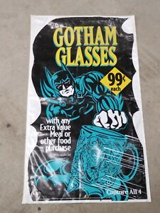 Vintage 1995 Batman Gotham City Collector Glass Mug Banner Sign Display Poster