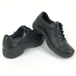 Dansko Womens 37 6.5 Lace Up Clogs Black Leather Chunky Heels Nursing Comfort