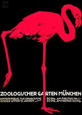 "Vintage Flamingo German Zoo Poster CANVAS PRINT Berlin poster 24""X16"""