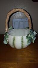 "Fitz & Floyd Decorative Porcelain Basket with Flower Motif Caprese Market 7.5"""