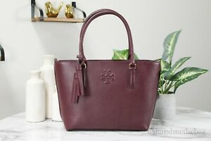 Tory Burch 75420 Thea Imperial Garnet Pebble Leather Small Convertible Tote Bag