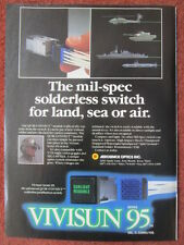 2/1992 PUB VIVISUN SERIES 95 SWITCH NVIS NIGHT VISION GOGGLES PILOT HELMET AD