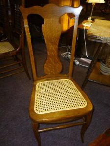 Antique Oak Chair Desk Ladies quartersawn tiger cane seat  refinished restored