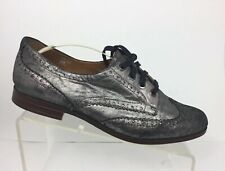 Earthies Treviso Womens 10 B Pewter Leather Wingtip Chic Laced Oxfords Shoes