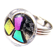 """RING Adjustable Dichroic Glass Pink Orange Green Recycled Clear Round 1/2"""" 15mm"""
