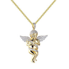 Sterling Silver Guardian Angel Pendant 14k Gold Plate Hip Hop Lab Diamond Chain