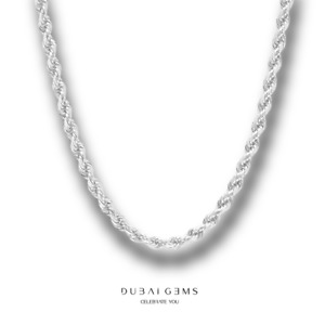 White Gold Finish 24 inch Mens Classic 4mm Rope Chain Necklace With Gift Box