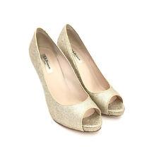 8161b791d4 Women's L. K. Bennett Gold Glitter Open Toe Platform High Heels Size 40
