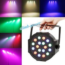 18 DMX RGB LED Par Stage Flat Light Wash Lamp Can DJ Disco Lighting Spotlight UK