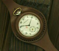 VTG Molnija 3602 Brutal men Pocket Watch + WWI Style New Leather WRISTBAND WWII