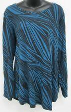 Top 1X Plus JM Collection NWOT Black Blue Turquoise Striped Long Sleeve J163