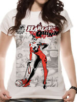 Official HARLEY QUINN COMIC T-shirt Kaboom Ladies Skinny White Suicide Squad