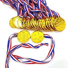24PCS PLASTIC GOLD WINNERS MEDALS OLYMPIC GAMES KIDS IDEAL PRIZE AWARD PARTY BAG