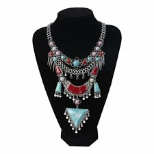 BEAUTIFUL VINTAGE ALLOY SILVER LONG BOHEMIAN NECKLACE RED/TURQUOISE BEADS