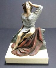 Resin Statue - A Lady in Deep Thought Expression on a marble base - Signed