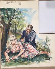 Peinture Gouache Dessin Original Yvette Briclot-Baudry Couple YBB15