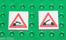 Lego 2x White Tile 2x2 Custom Printed Road Sign NEW!!! 7