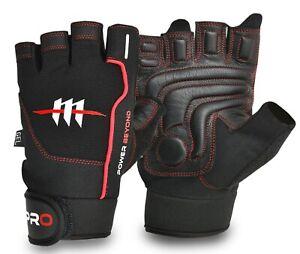 Black Fingerless Gym Gloves Real Leather SMART PADDING for GRIP Comfort Fit UK!