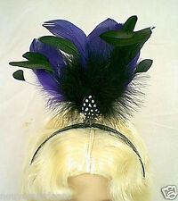 Handmade Party Headpiece Purple and Black Standing Feathers on a Black Headband