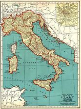 1937 Antique Map of Italy Map Vintage 1930's Italy Print Gallery Wall Art 4928