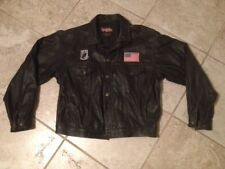 """Easy Riders Black Leather Biker Jacket XL 49"""" chest -two bottom buttons missing"""