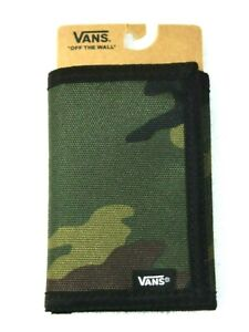 Vans Slipped Tri Fold All Camouflage Wallet Green Brown Black NWT Ships Free