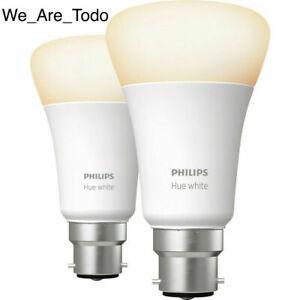 2x Philips - Hue White Personal Wireless Lighting LED B22 - 9W Bayonet Cap Bulb
