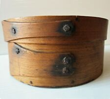 "Antique Round WOOD PANTRY BOX with Cover - 6"" Dia."