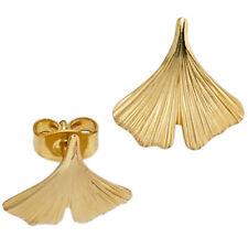 Damen Ohrstecker Ginko Ginkgo 375 Gold Gelbgold teil matt Ohrringe