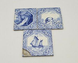 Antique Minton Hollins Blue & White Dutch Border Aesop Fable Tiles c1870's