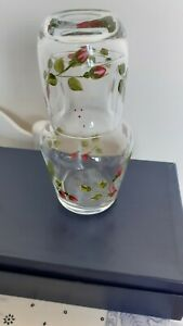 BEDSIDE WATER CARAFE AND GLASS TUMBLER DECORATED WITH ROSEBUDS