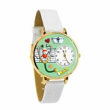 Whimsical Watches Unisex Nurse Green White Skin Leather and Gold Tone Watch