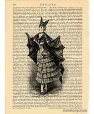 Victorian Bat Girl Costume Art Print on Antique Book Page Vintage Illust Batgirl