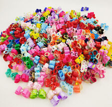 50-100PCS 3D Small Puppy Pet Dog Cat Rhinestone Hair Bows Rubber Bands Grooming