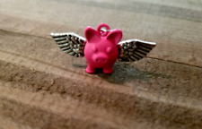 Pink Pig Charm Flying Pig Pendant Fairy Tale When Pigs Fly Rubber Antique Silver