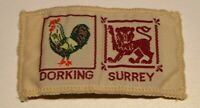 Dorking Surrey double cloth badge, scouts?, 3 x 1.5 inches approx.