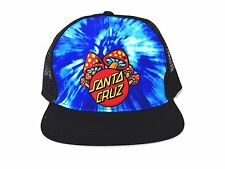 "SANTA CRUZ ""Shroom Dot"" Blue Tie Dye/ Black Poly-Blend Adjustable Trucker Hat-OS"