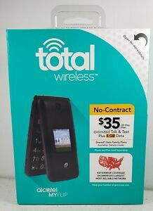Total Wireless Alcatel MyFlip  TWALA405 Prepaid Flip Cell Phone New Factory Seal