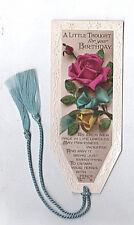 Antique Bookmark Pink Rose Flowers Georgian Birthday Card Poem Photo Nellie Gift