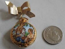 vintage pin brooch SOLID PERFUME COMPACT pocket watch shape FULLER It's Magic