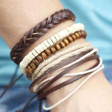 Adjustable DIY Bracelet Wood Bead Leather Wax Rope Braided Beaded For Men Women
