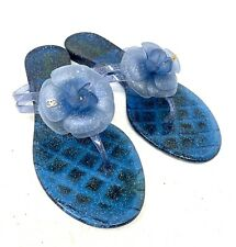 Authentic CHANEL Coco Mark Sandals Women's #F38 Blue Gold Good Condition Rank AB