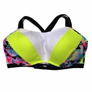 Victoria's Secret Ultimate Sports Bra Color Block Neon Geometric 36D Damaged