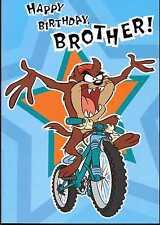 Taz on a Mountain Bike ~ Hallmark LooneyTunes ~ Happy Birthday Brother card b/n