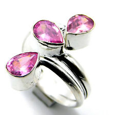 Pink Quartz 925 Sterling Silver Plated Jewelry Adjustable Ring (Size Q)-A411