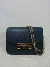 NWT FURLA Petrolio Dark Blue Saffiano Leather Mini Julia Chain Xbody Bag $328