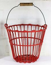 Log Storage - A Vintage Plastic Coated Steel Wire Farm Vegetable Basket Bucket