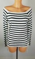 Ex M&S Ladies BLACK Striped Jumper with side tie Size 8 -22